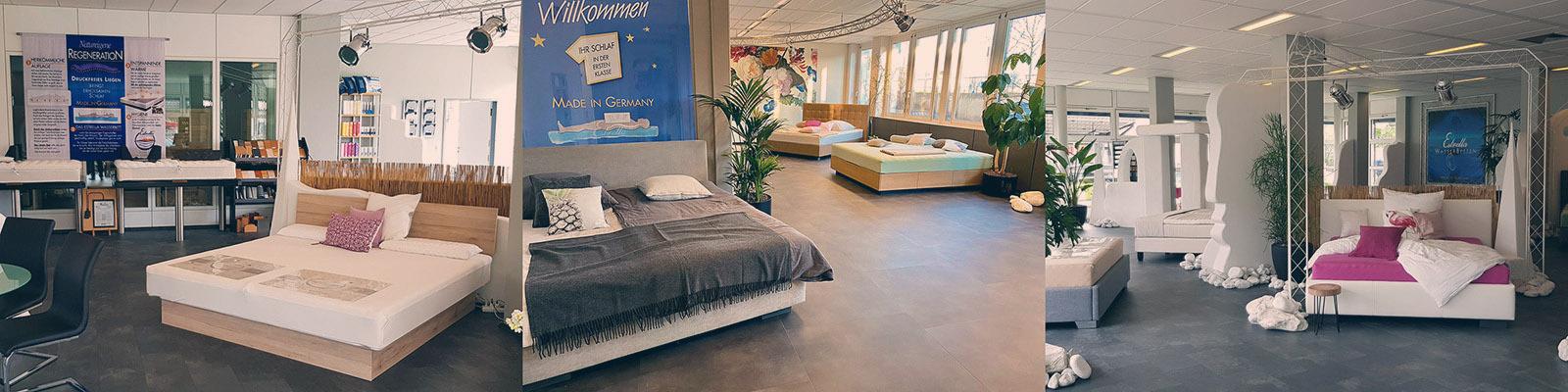 3 Fotos von 3 Filialen der Kallisto GmbH. Zu sehen sind die Innenräume der Filialen mit den dort ausgestellten Wasserbetten.