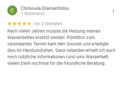 Screenshot einer positiven Google-Rezension für die Kallisto GmbH